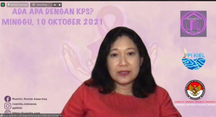 Livia Istania DF Iskandar, Wakil Ketua LPSK RI hadir memberikan pemaparan dalam webinar.